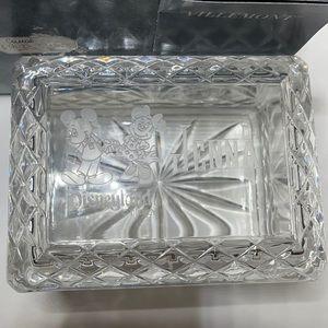 Villemont Crystal etched trinket box